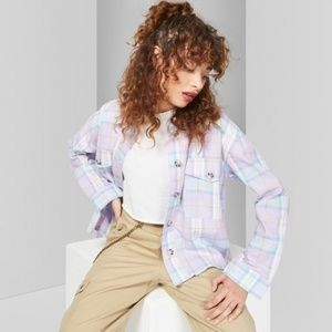 Stormy Plaid Long Sleeve Button-Down